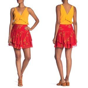 Derek Lam 10 Crosby pleated mini skirt red floral